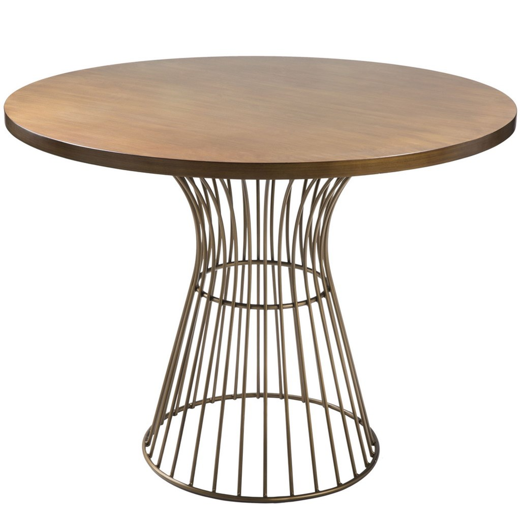 mid century modern golden bronze 42 in round dining table metal wire frame base. Black Bedroom Furniture Sets. Home Design Ideas