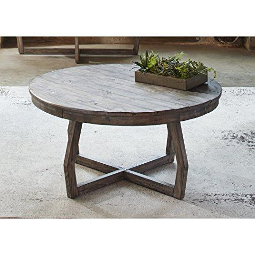 Modern rustic reclaimed gray wood round console cocktail for Gray wood and metal coffee table