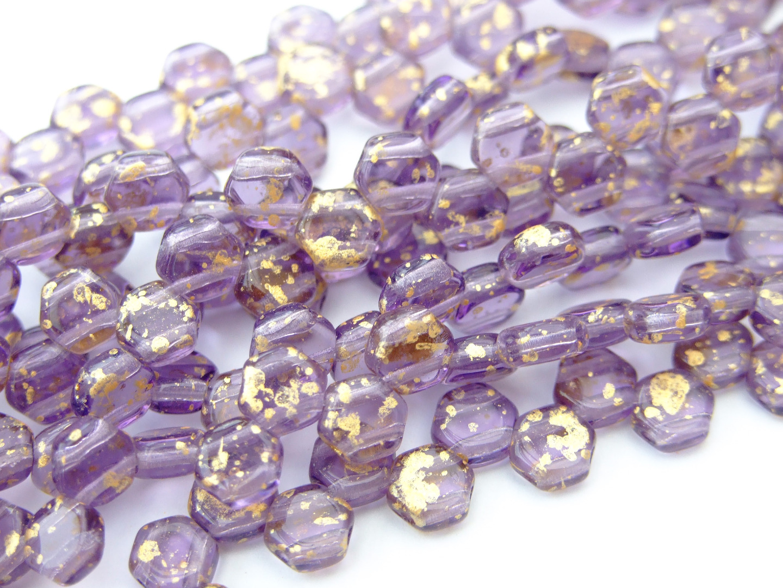 30x Czech Honeycomb Beads 6mm Hexagonal 2 Hole Magic Blue Pink