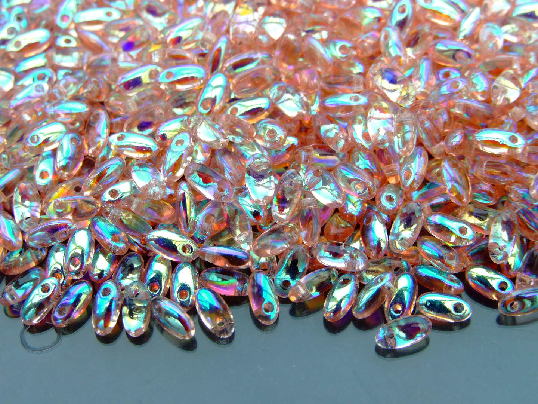 10g Czech Rizo Glass Beads Size 2.5x6mm Iris Brown