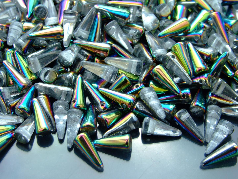 20pcs Tchèque Spike//Cône Perles de Verre Taille 4x10mm CRYSTAL PICASSO
