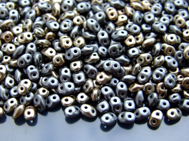 10g Czech SuperDuo Twin Beads Crystal AB Matt