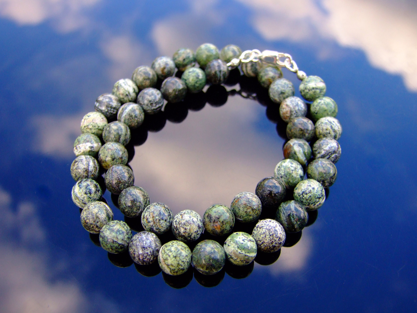 Chrysocolla Natural Gemstone Necklace 8mm Beaded Silver 16-30inch Healing Stone