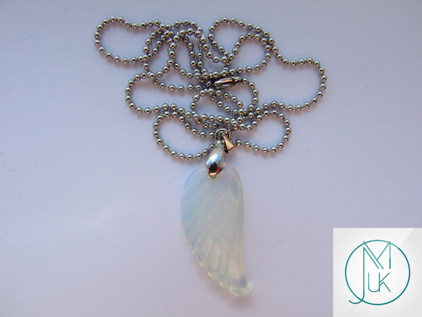 Opalite Manmade Gemstone Angel Wing Pendant Necklace