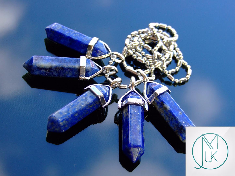 Lapis Lazuli Crystal Point Pendant Natural Gemstone Necklace Healing Stone Reiki