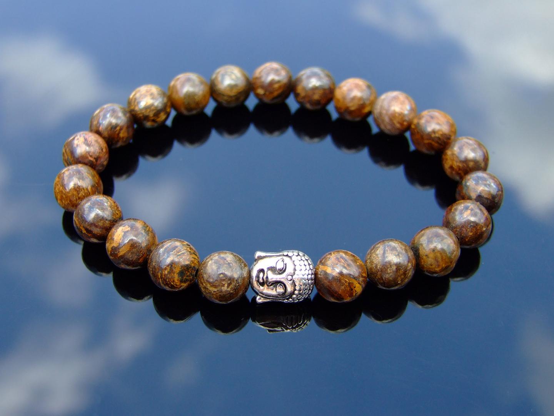 """Bronzite Pulsera de piedras preciosas naturales 6-9/"""" Piedra de Curación Elástico Chakra Reiki"""