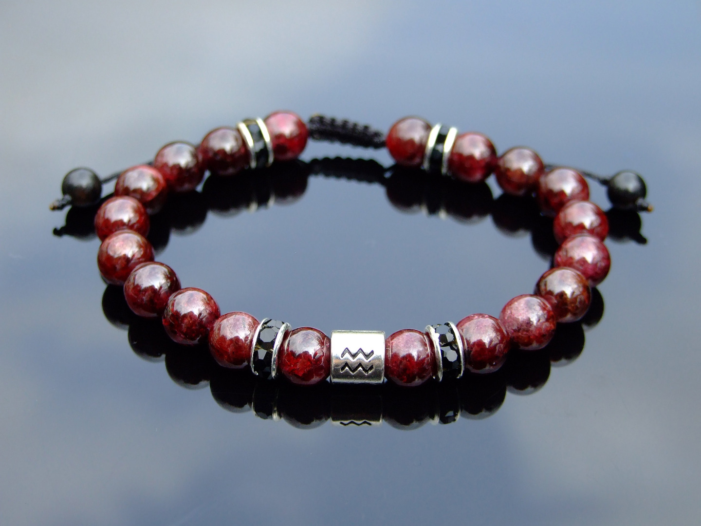 lava stone bracelet garnet chip bracelet red garnet bracelet lava bead bracelet zodiac bracelet Aquarius bracelet gemstone jewellery