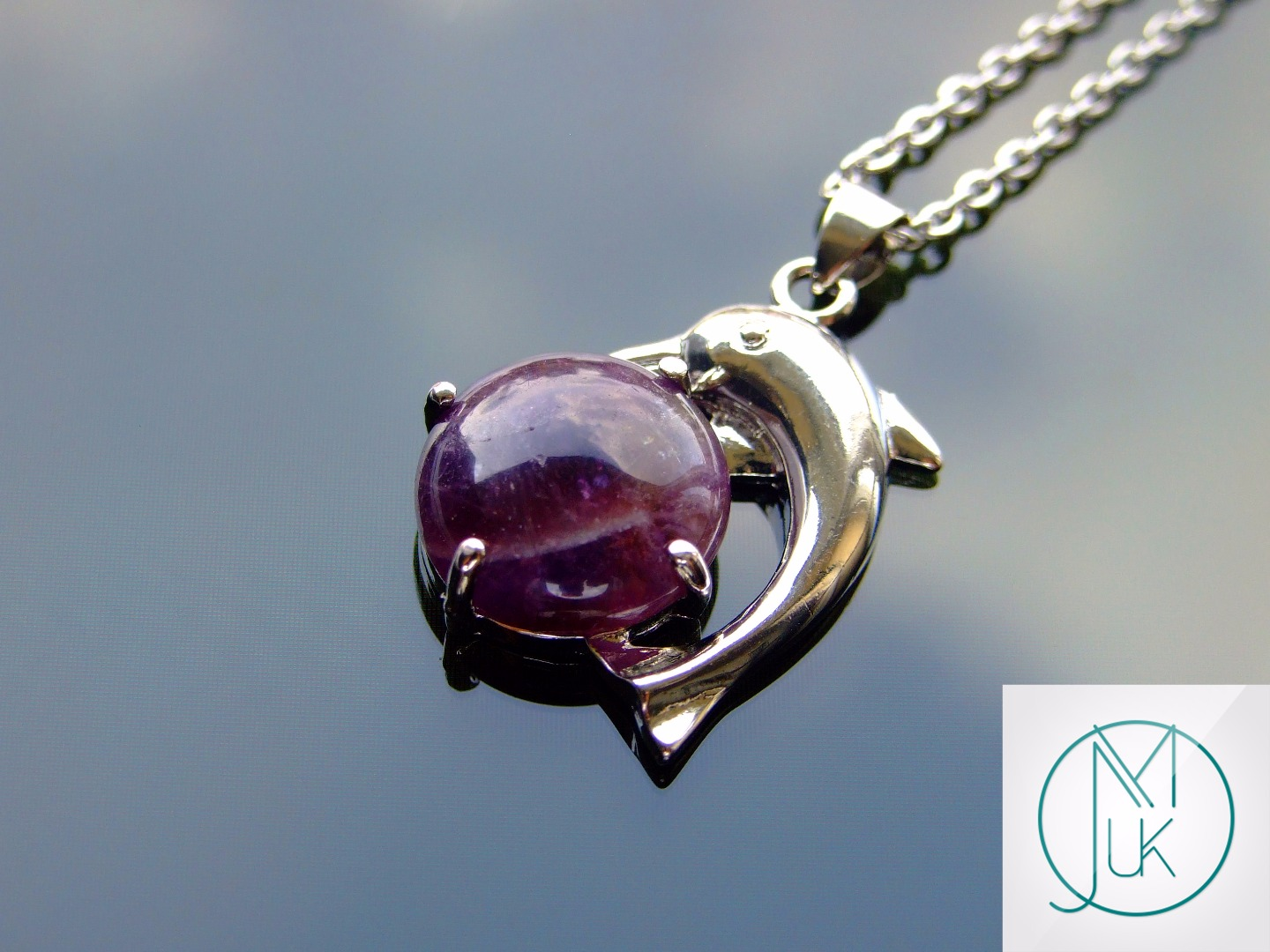 Amethyst Dolphin Natural Gemstone Pendant Necklace 50cm