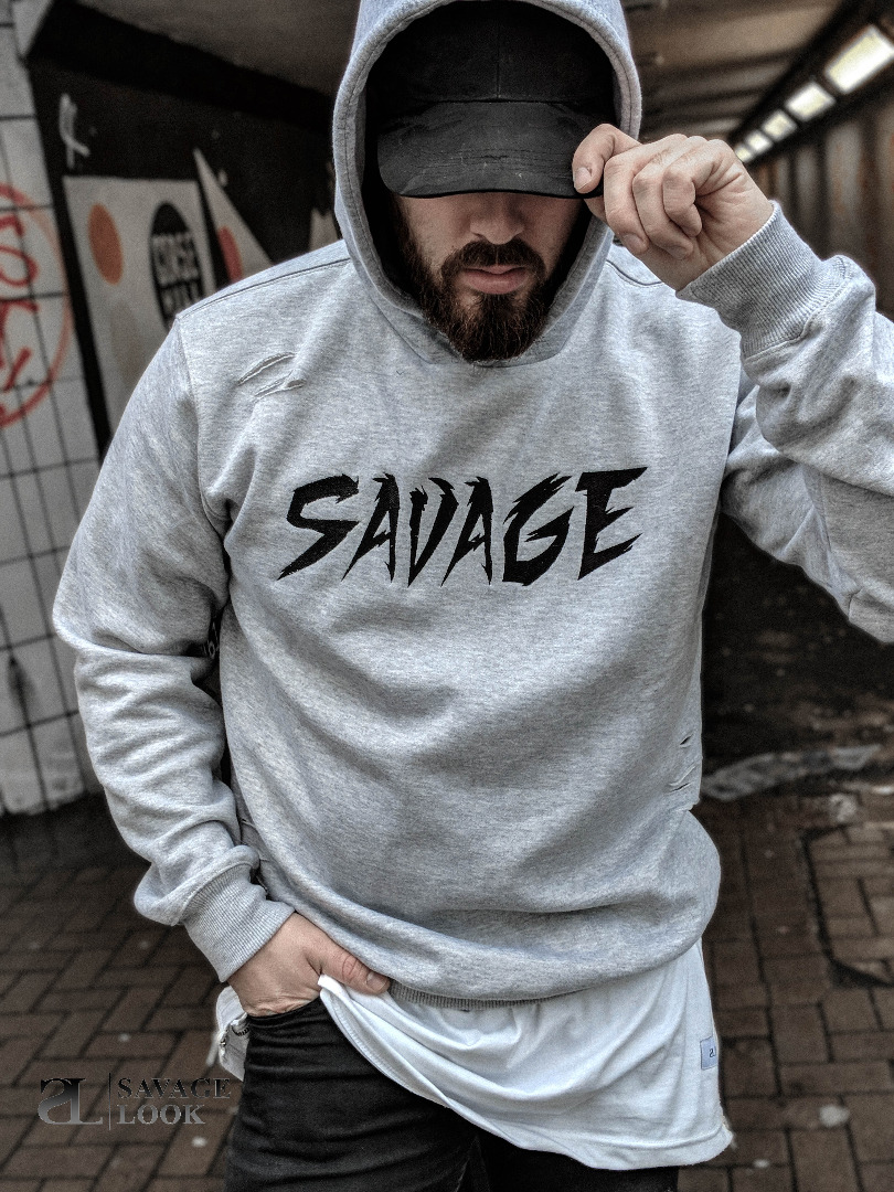 Men s Savage Look Ripped Hoodie Urban Streetwear Grey All Sizes  c9c0cfdcb