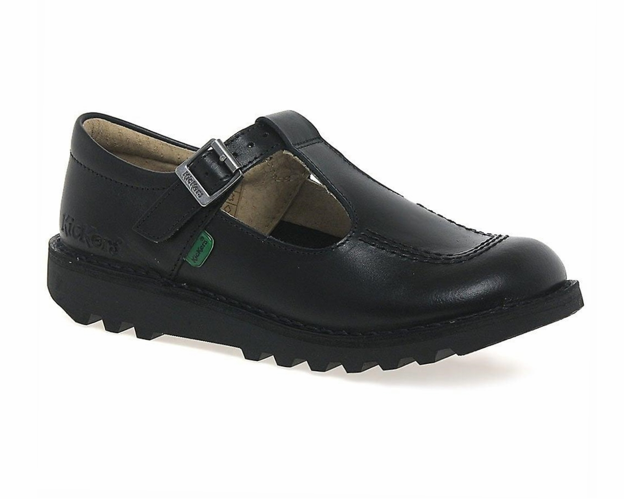 4b9bf2121a501 Kickers Kick T Y T Bar Leather Girls Shoes Black School Work Shoes ...