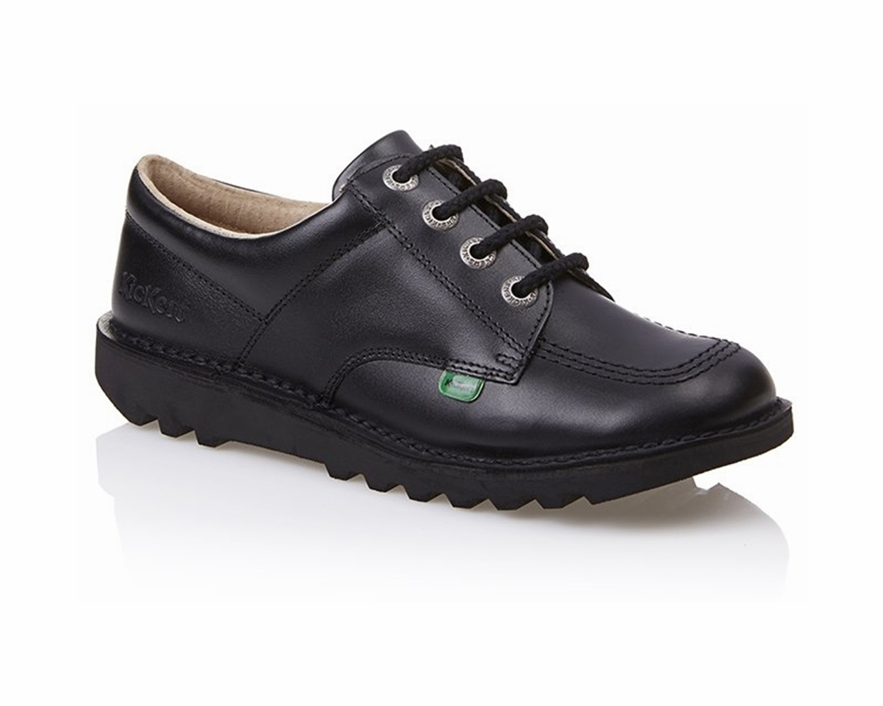 Kickers KICK LO CORE Womens Older Boys Girls Leather Lace-Up School Shoes Black