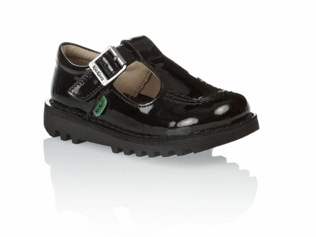 Détails sur Solde Bébés Jeunes Kickers t CORE 112531 Cuir Verni Barre En Chaussures Noires