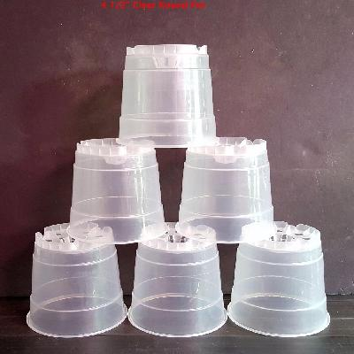 4.5in Round Clear Plastic Orchids Pot with plenty of drain holes