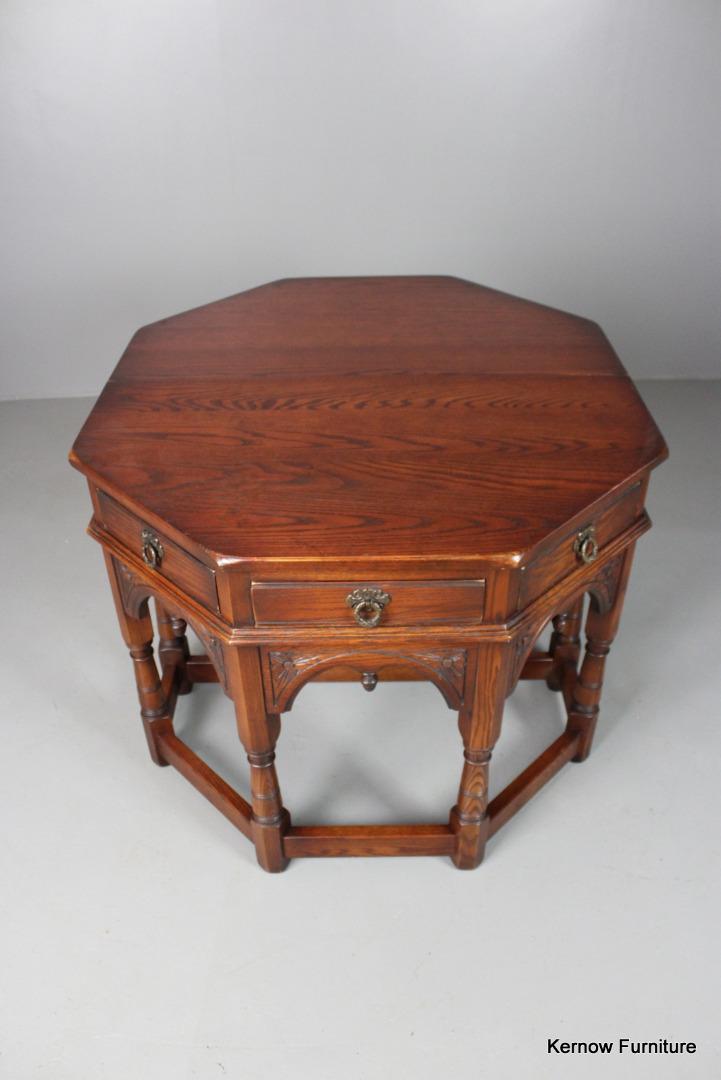 Solid oak old charm dining side drop leaf gate leg table for Solid oak dining table with leaf