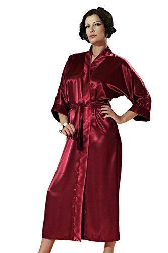dkaren nachtw sche morgenmantel kimono aus satin lang 130 cm ebay. Black Bedroom Furniture Sets. Home Design Ideas