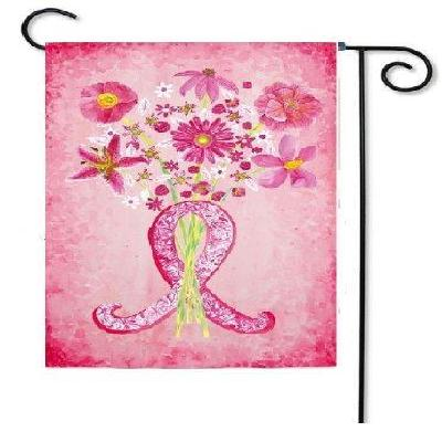 Breast Cancer Pink Ribbon Garden Flag 2 Sided