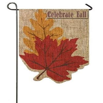 Welcome Fall Leaves Garden Flag 2 Sided Burlap Autumn