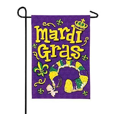 Mardi Gras King Cake Baby Garden Flag 2 Sided