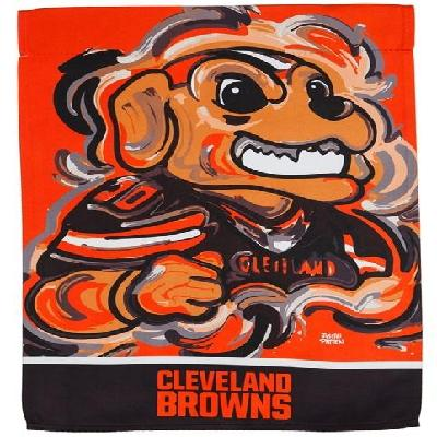 Cleveland Browns Garden Flag 2 Sided Justin Patten Chomps