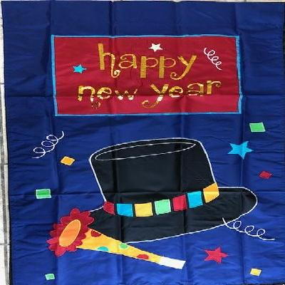 Happy New Year Flag 2 Sided Applique House Banner