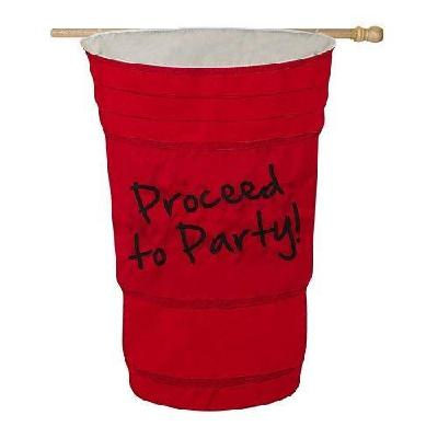 Proceed To Party Flag 2 Sided Red Solo Cup House Banner