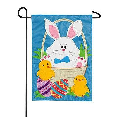 Easter Bunny and Chicks Garden Flag 2 Sided Applique