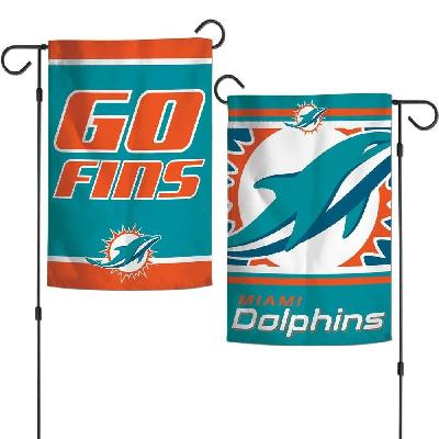 Miami Dolphins Garden Flag 2 Sided Go Fins Slogan