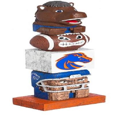 Boise State Broncos Tiki Totem Whimsical Hand Painted Wood Statue