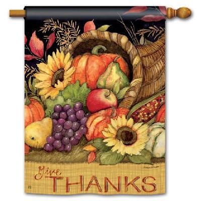 Harvest Blessings Banner 2 Sided House Flag Thanksgiving