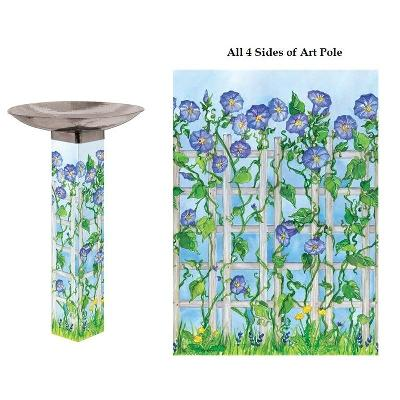 Bluebonnet Trellis Bird Bath Art Pole Stainless Steel Bowl