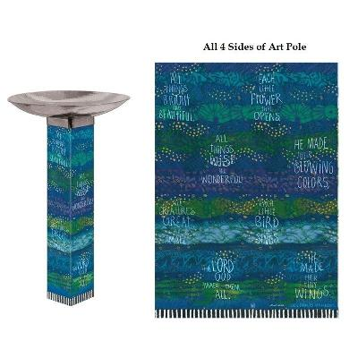 Rhythmic Blues Bird Bath Art Pole Stainless Steel Bowl