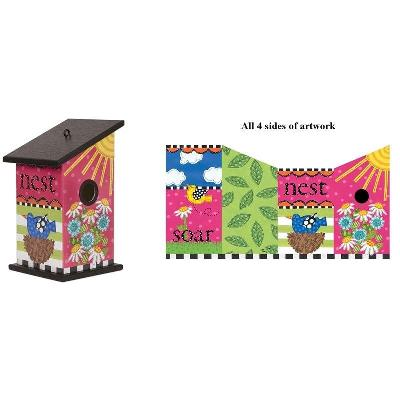 Pink Posy Birdhouse Painted Peace Collection