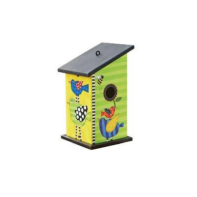 Frolic Stacked Birds Birdhouse Painted Peace