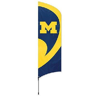 Michigan Wolverines Tall Team Feather Flag with Flagpole