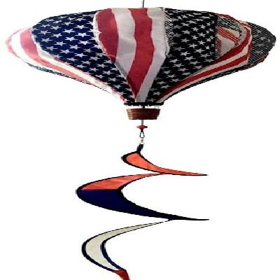 Red White and Blue Hot Air Balloon Wind Spinner