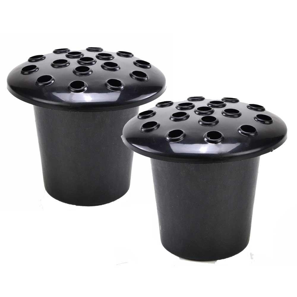 Set of 2 Black Memorial Grave Vases & Lids For Fresh & Artificial Flowers Pot