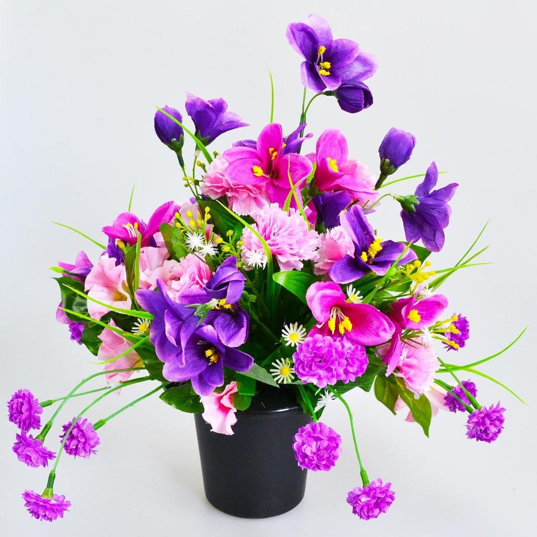 Set of 2 Black Memorial Grave Vases & Lids For Fresh & Artificial Flowers Pot 6