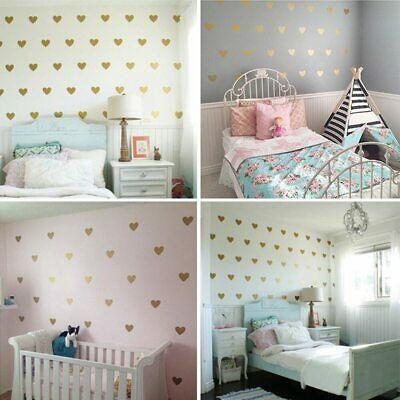 Gold-Heart-Shape-Wall-Stickers-Love-Hearts-Decal-Girls-Bedroom-Kids-Nursery thumbnail 25