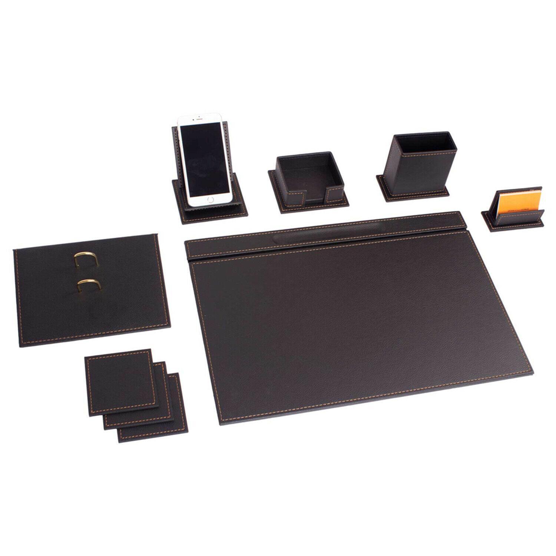 Schreibtisch Set Vegan 9 tlg aus hochwertigen Kunstleder 2 Nahauswahl in Schwarz