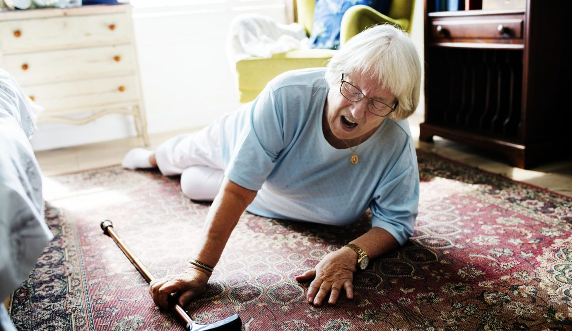 Elderly woman fell on the floor