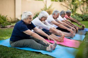 Cheerful seniors exercising on mats at park