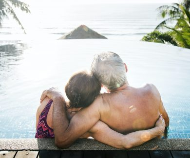 Senior couple relaxing at a resort