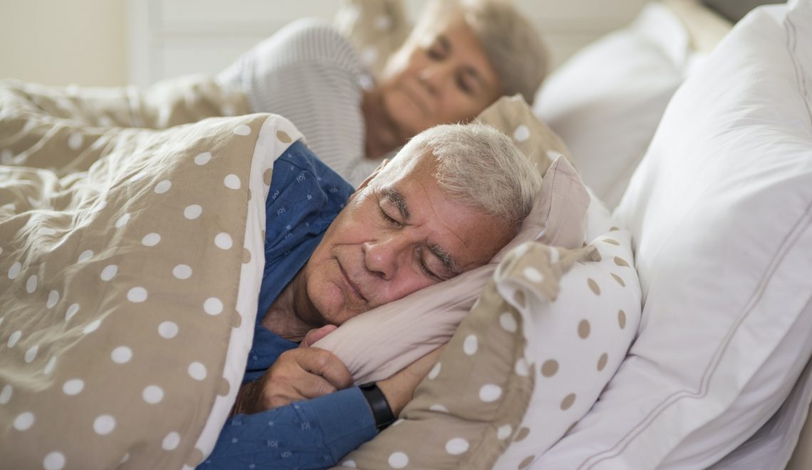 Calm facial expression of sleeping senior marriage