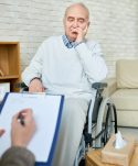 Disabled man in assisted living center