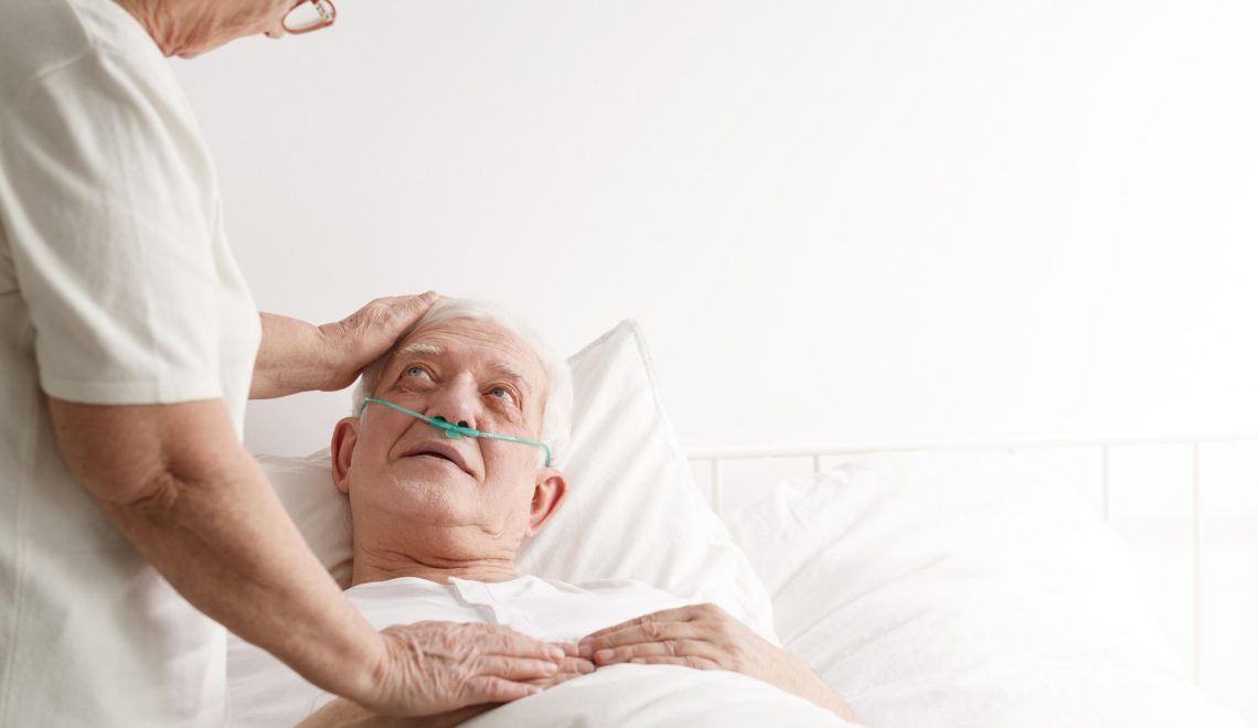 Senior man in hospice