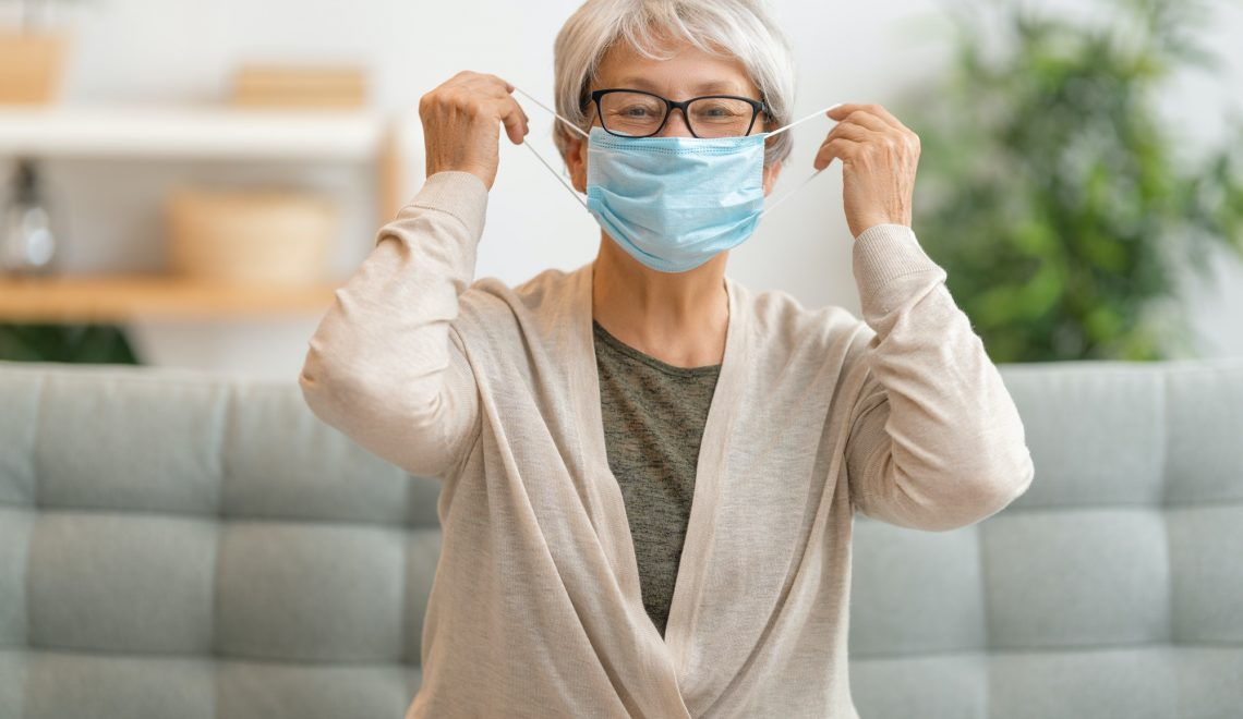 Senior woman wearing facemask