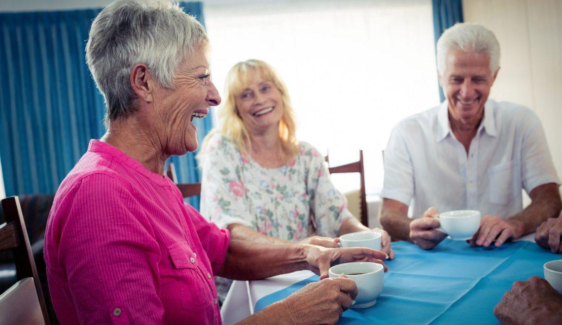 Group of seniors drinking coffee