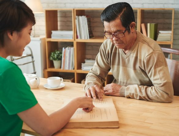 Teaching aged man