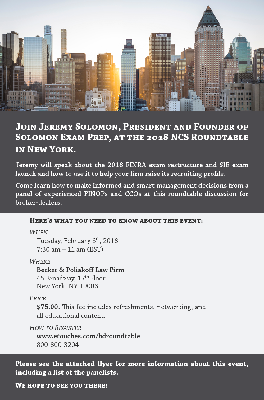 2018 New York NCS Roundtable Discussion for Broker-Dealers