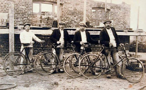 Untitled [Men with bicycles]